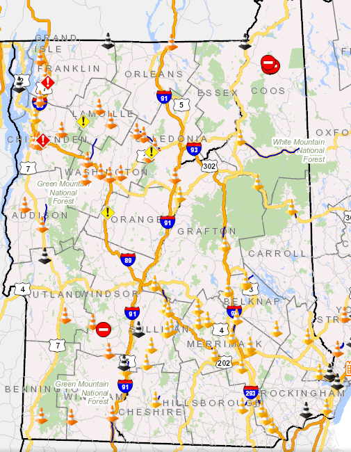 Vermont road closures and highway information.