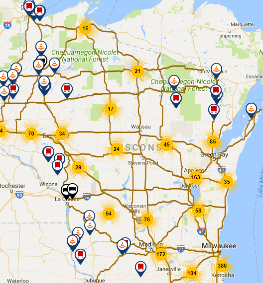 Wisconsin statewide conditions of roads and highway closures  -